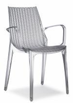 Дизайнерски стол прозрачен сив