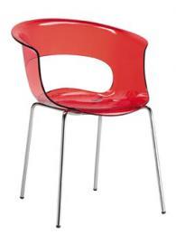 Дизайнерски стол прозрачно червен