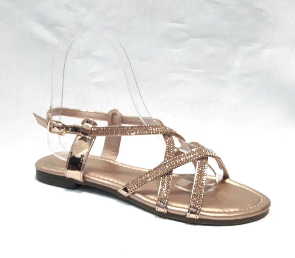 Кожени дамски сандали с камъчета-златисти.