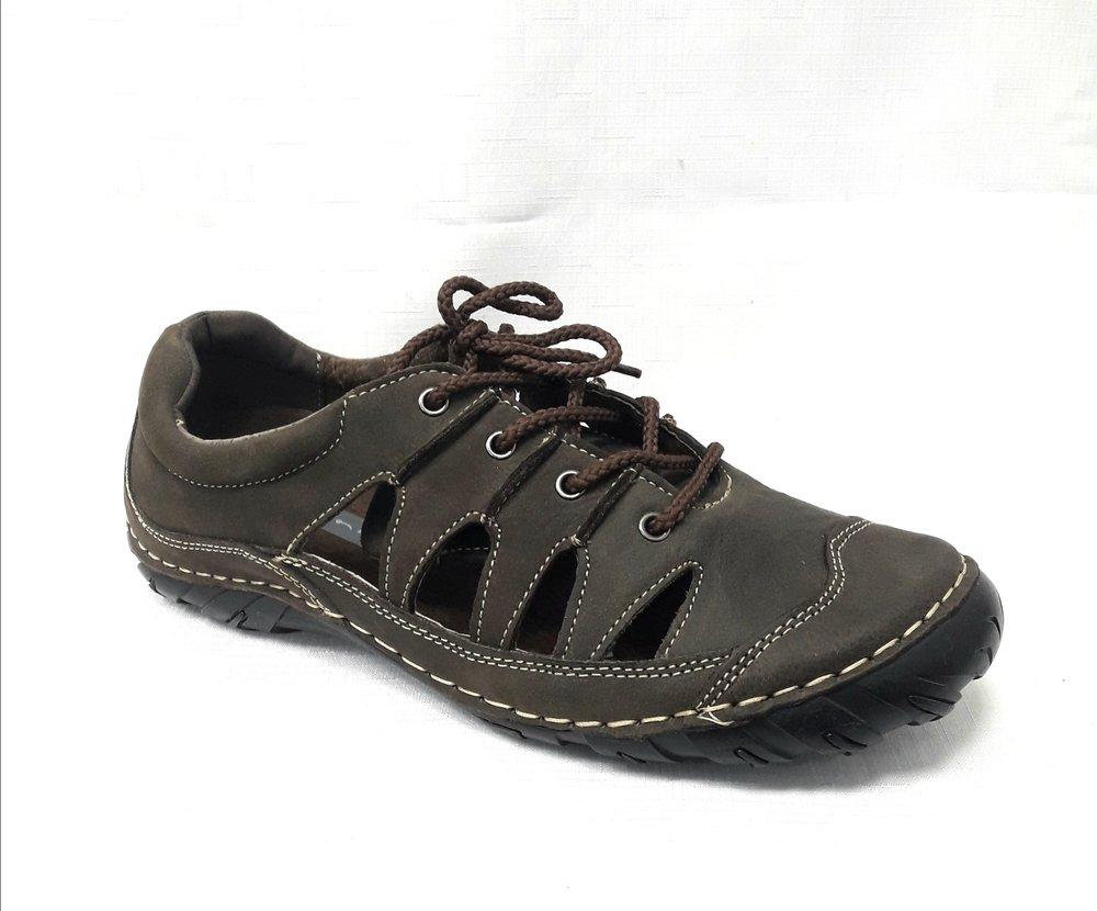 Кафяви мъжки сандали от естествена кожа.