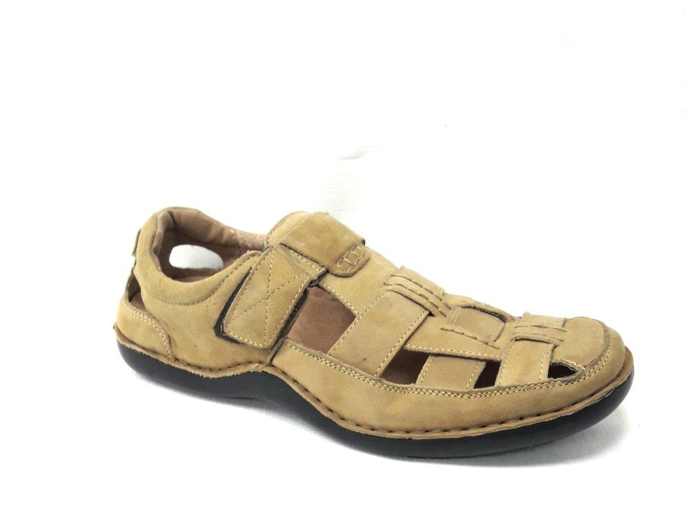 Мъжки сандали от естествена кожа-цвят каки.