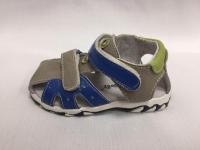 Сиво-сини бебешки сандали от естествена кожа.