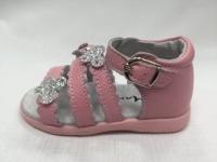 Розови бебешки сандали от естествена кожа.