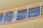 парапети за тераси от инокс и кафяво стъкло