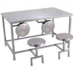 маса с кръгли столове от инокс